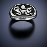 Wolf and Moon Ring by mckenziejewelers on Etsy