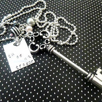 You are my treasure  - Hand stamped  Choose between a necklace or a  keychain - with Skeleton Key Charm - french Paris