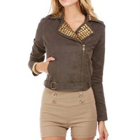 Olive Studded Moto Jacket