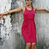 SUMMER SALE-20% off- short halter red dress with fringe belt