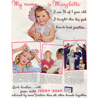 1940s Ivory Soap Ad, Vintage Health and Beauty Advertising, Magazine Print Ad, Bride and Baby