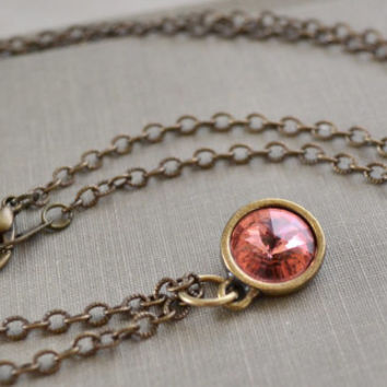 Peach Rivoli Necklace, Antique Brass, Rose Peach, Swarovski Crystal Necklace, Boho Layering Necklace, Bridesmaid Jewelry Gift