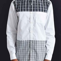 Your Neighbors Plaid Blocked Long Button-Down Shirt- White