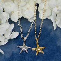 Vermeil Gold Sterling silver Star Starfish charm pendant necklace - Freshwater pearl necklace
