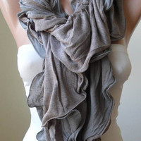 Ruffle Scarf in Light Brown - Combed Cotton - Summer Design - New