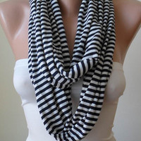 Infinty - Loop Scarf - Dark Blue and Beige Striped - Combed Cotton Fabric for Summer-