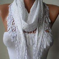 Perforated Fabric Summer Scarf - White Cotton Scarf with White Trim Edge - Summer Collection