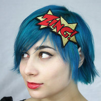 Gold ZING Headband, Metallic Gold and Red, Comic Book Headband