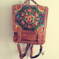 Handmade Leather Backpack Embroidered Ethnic Bags Women Retro School Shoulder Bags