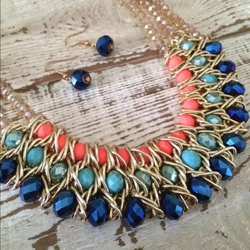 Bead statement necklace set.