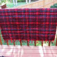 vintage wool plaid blanket. lap blanket. afghan. throw. autumn decor. dorm decor. stadium blanket