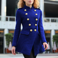 Blue Cashmere Coat Slim Body Fitted Army Style Cashmere Coat Wool Winter Coat For Women - NC241
