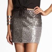COLOR BLOCK SEQUIN MINI SKIRT at Express