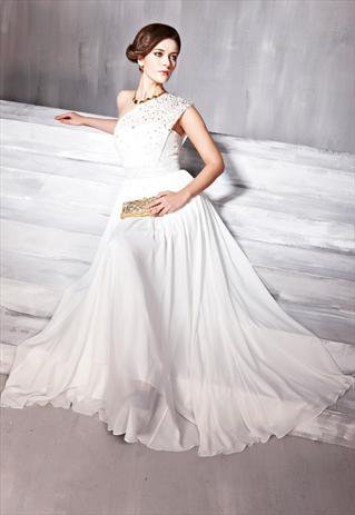 Wide Lace Strap One-shoulder Empire Quinceanera Dress 56683 from locascio