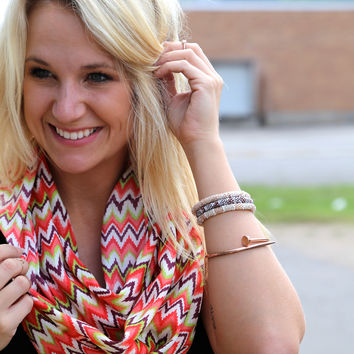 Zig To Your Zag {Infinity Scarf} - Multi Chevron Scarf