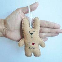 plush bunny ornament - I heart you funny bunny - good for Christmas tree decoration or gift