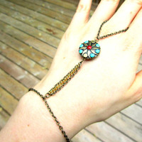 Turquoise and metal slave bracelet, metal hand bracelet, colorful chain hand bracelet