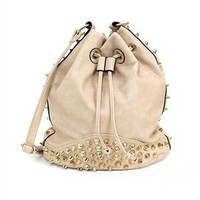 West Coast Wardrobe Tote It and Boot It Studded Bag in Beige