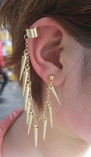 Gold Tone Rivets Tassels Ear Clip-on Earring at Online Jewelry Store Gofavor