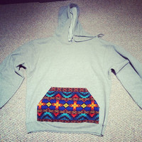 Grey Hooded Sweatshirt with Front Aztec Pocket