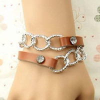 Adjustable Bracelet Cuff Leathe Bracelet Chain Bracelet With Metal Woven Snapper B623