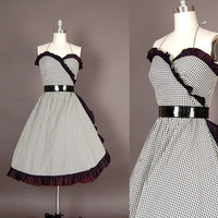 vintage 1970s dress 70s dress full skirt gingham black white plaid party 1950s inspired