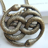 The Never Ending Story -- Steampunk Vintage style two snake necklace --- Snake Xenzia