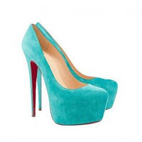 Light Blue Suede Genuine Leather Platform High Shoes