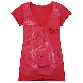 Disney Fitted Roses Beauty and the Beast: The Broadway Musical Tee for Women | Disney Store