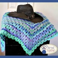 Stunning Baby Blanket, Multi Color Throw, Blues and Greens Blanket, Textured Granny Blanket