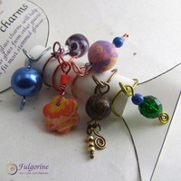 Set of six wine glass charms, handmade polymer clay art beads, multi colours