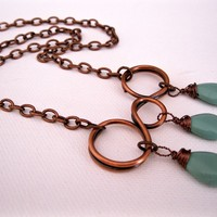 Triple swirl drop copper necklace with aqua green quartz and copper chain, copper circle necklace, stone necklace, copper necklace