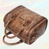Mini Trunk Satchel tote handbags for women vintage tan - $199.60 : Notlie handbags, Original design messenger bags and backpack etc