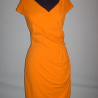 Vintage 1990s Orange Dress Off Shoulder V Neck