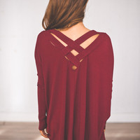Cross Back Tunic- Maroon