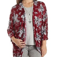 Floral Print Kimono with Lace Back by Charlotte Russe - Burgundy Cmb
