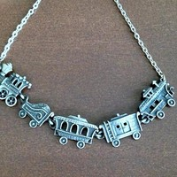 Girls Whimsical Steam Train Necklace