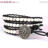 ON SALE Triple Wrap Bracelet - Greek Leather Cord - Natural Stone Bracelet - Button Clasp