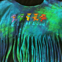 Hipster Tie Dye WoodStock Grateful Dead Hippie Attire Fringed Tee