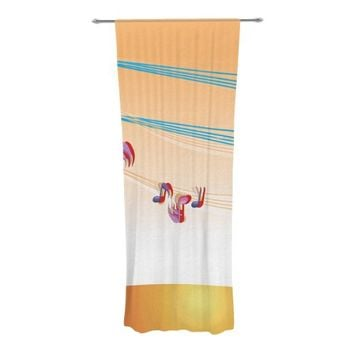 """KESS InHouse Fotios Pavlopoulos """"Nature Music"""" Orange White Decorative Sheer Curtains, 30 by 84-Inch"""