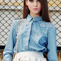 Beaded Blue Denim Blouse(Coming Soon) [NCSHS0105] - $72.99 :