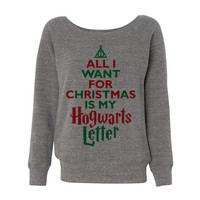 Grey Wideneck All I Want For Christmas Is My Hogwarts Letter Deathly Hallows Harry Potter Ugly Sweater Oversized Jumper Pullover