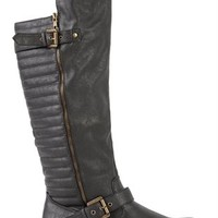 Tall Riding Boot with Quilted Back and Buckles
