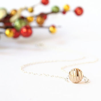 Gold Sparkle Necklace 14K Gold Filled Small Sparkly Gold Glitter Ornament Sterling Silver Chain Mixed Metal Stardust Gold Holiday Necklace