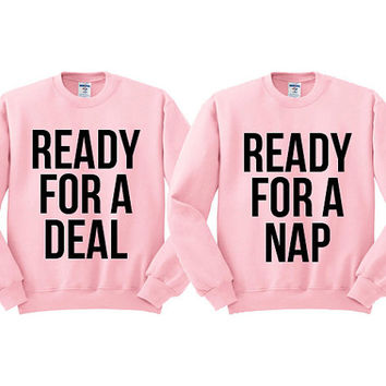 Pink Crewneck Best Friend Ready For A Deal For A Nap Black Friday Sweatshirt Sweater Jumper Pullover