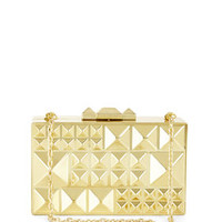 Grey BCBG Dee Pyramid Hard-Case Clutch