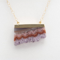 Amethyst Stalactite Slice Pendant Necklace - 14k Gold Filled Chain - Purple - Golden Brown - Mauve
