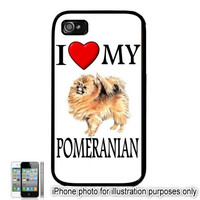 iPhone 5C 6 Plus 4 5 Case Pomeranian I Love My Dog Photo Cover Hard Shell Back Rubber Silicone or Plastic