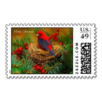 Bird in Nest Christmas Postage