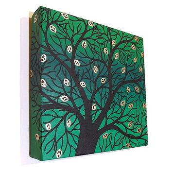 Silhouetted Green Spring Tree acrylic painting